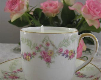 Gift idea: romantic candle Cup and saucer porcelain n3