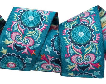 """Jacquard Ribbon - Dreamweaver Ribbon  Pink Teal aztec 1-1/2"""" wide by Amy Butler - from Renaissance Ribbons. Sold by the Yard"""