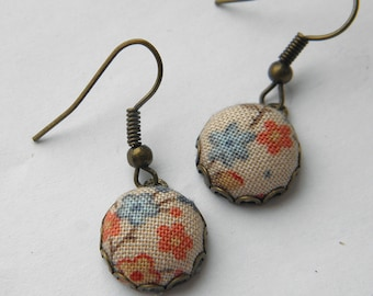 Orange blossom -  Fabric Covered Button Earrings.