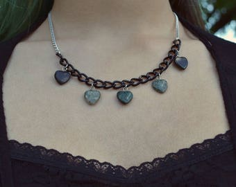 Stone Hearts Short Necklace