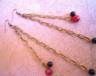 Extra Long Chain Earrings Repurposed Vintage Brown & Black
