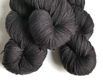 Hand-dyed yarn, Indie dyed yarn, hand dyed yarn BLACKBIRD --ready to ship--  Staten Island Ferry merino/ nylon sock yarn