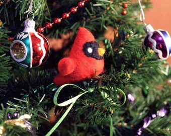 Felted Red Cardinal Christmas Ornament - Made to Order - Felt Bird Ornament - Woodland Animal Felted Christmas Ornament
