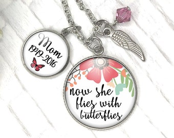 Memorial Necklace, Now she Flies With Butterflies, Sympathy Gift Mom, Loss of Loved One, Always in my Heart, Memorial Jewelry Child Loss