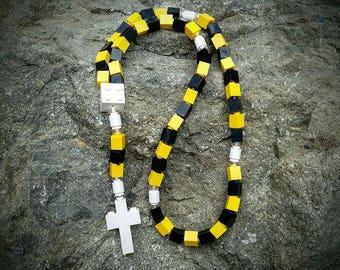 The Original Mementomoose Rosary Made with Lego Bricks - Yellow, Black and White Catholic Rosary