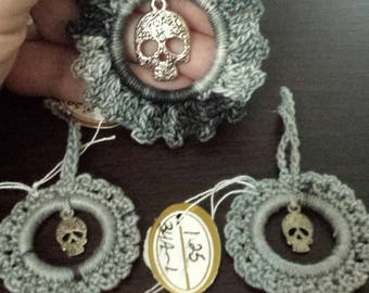 Crocheted  3 AnyTime Ornaments  skulls goth  inventory clearance