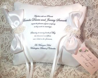 Treasured Keepsasakes Personalized Satin Ring Bearer Pillow Using a Copy of Your Wedding Invitation