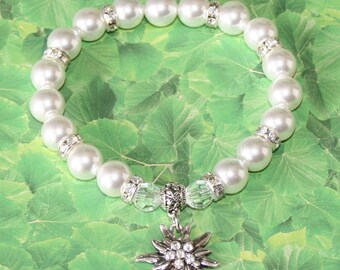 Edelweiss traditional pearl bracelet crystal (clear crystal)