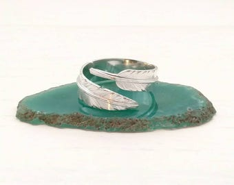 Feather Ring - Adjustable Sterling Silver Feather Band - Birthday for Her