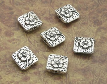 12 Lovely Square Spacer Beads with Flower Design 10mm Beading Jewelry Findings Supplies