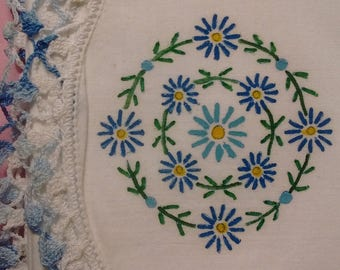 Vintage Home Decor Linens Pair of Hand Painted Pillowcases Blue Flowers Hand-made Lace