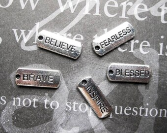 Word Charm Collection in silver tone - C2425