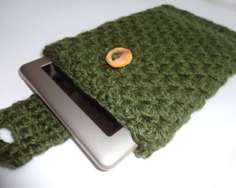 Crocheted Mini Tablet Case - Nook Sleeve - Kindle Sleeve - Tablet Cozy - Crochet Kindle Case - Crochet Nook Cozy - Tablet Cover -Gadget Cozy