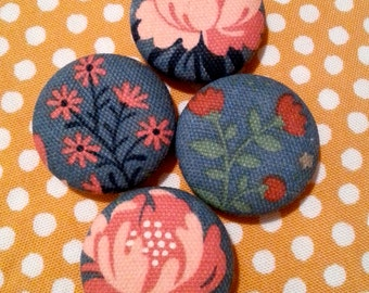 Flower Print Vintage-Inspired Fabric Magnets - SET OF 4 - Refrigerator Magnets - 100% Organic Canvas Cotton