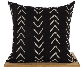 Maxwell Black African Mud Cloth Pillow Cover Mudcloth Pillow