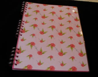 Shabby Chic Notebook, Rose Print Notebook, Roses Jotter, Laminated Notebook, A4, Personalisation Possible