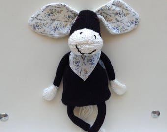 Plush black donkey and bandana fabric liberty