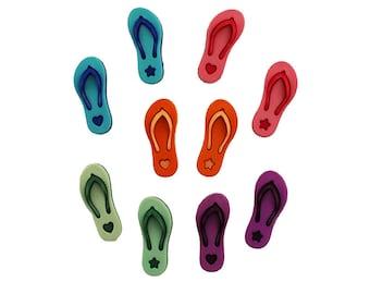 Flip Flop Buttons Shank Back Colorful Summer Beach Wear Sandals Pink Orange Blue Green Purple Fun DIY Earrings for Teen Sewing Knit Crochet