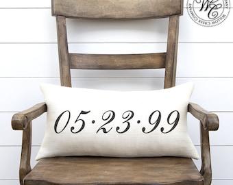wedding date pillow, personalized pillow, wedding gift, burlap pillow, personalized wedding pillow, establish pillow