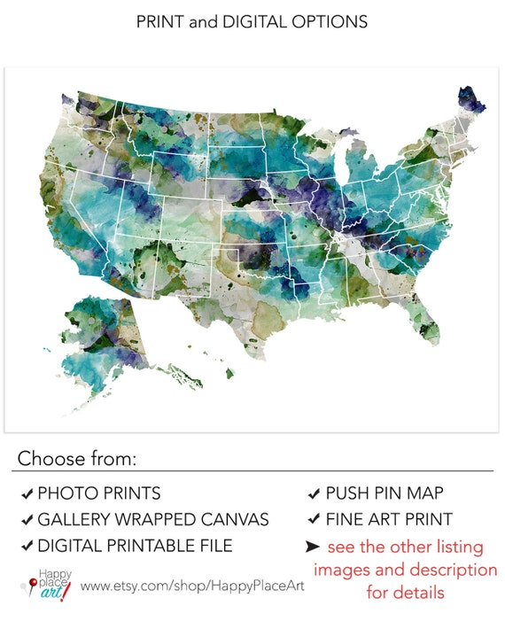 Very Large USA Map Watercolor Khaki Teal Watercolor USA - Large Image Map Of Us With Labels