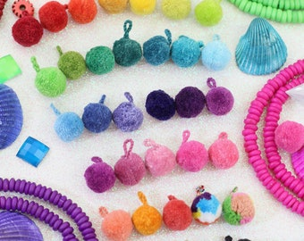 MINI Luxe Pom Poms with Loops for Jewelry, SPRING Designer Jewelry Making Charm, Sandal Charms, Handmade Fashion, Pairs, You Choose Colors