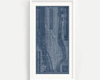 Vintage New York Map Print - Blueprint - NYC - Manahattan - Bronx - Blue - Wall Art