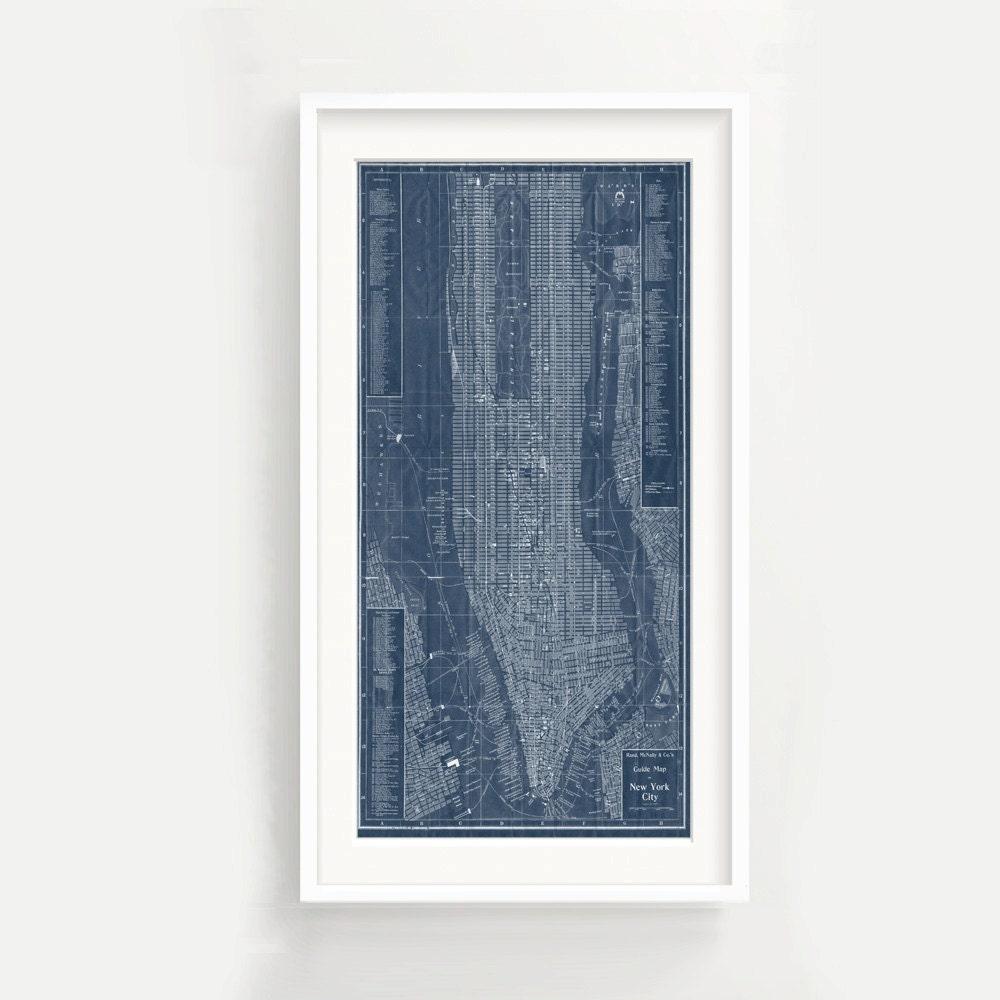 Jahrgang New York Stadtplan Drucken Panorama Blueprint