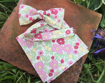 Handmade bow tie and pocket square set