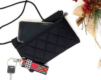 Black crossbody bag for when you need an extra pocket, Foam padded and quilted, red plaid inside, cell phone bag, cross body