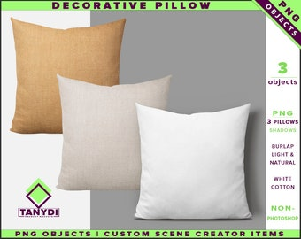 Decorative Pillow M1 | Non-Photoshop | PNG objects | Square | Burlap White Cotton Cushion | Shadows | Custom Scene Creator Items