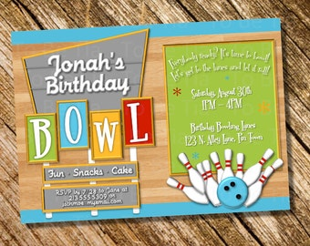 Customizable/Printable Bowling Party Invitation