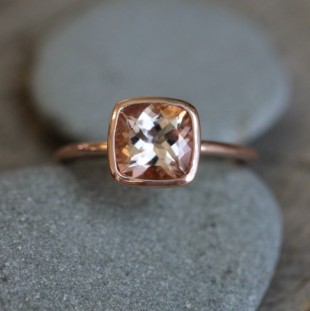 Morganite Ring in 14k Rose Gold Ring Cushion Cut and Highly