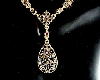 Crown Trifari Black Rhinestone Teardrop Pendant Necklace Signed Ornate Pendant 16 Inch Chain Vintage 70 Necklace
