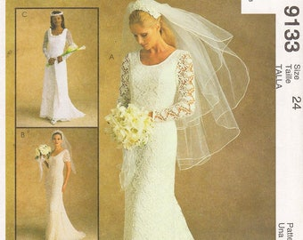 Size 24 - Vintage 90's McCall's Pattern 9133 by ALICYN EXCLUSIVES - Misses' Lace, Scoop Neck Wedding Dress with Train in Three Variations