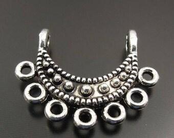 Connecteur ouvragé,boucles d'oreilles,métal argent,13*11*3 mm,lot de 10 Pcs