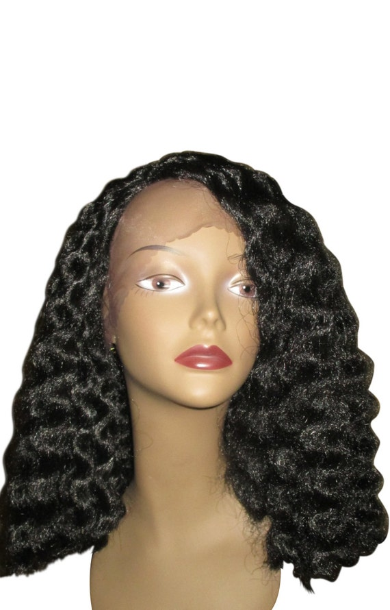 Essence Wigs African Water Wave Blunt Bob Precision Cut Lacefront Wig Unit Black Brown Lace Wig Curly Hair