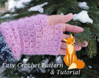 Easy Crochet PATTERN / TUTORIAL Womens Fingerless Mitts - Spring, Autumn Gloves Pattern Instant Download Pdf - Mittens Pattern English Only