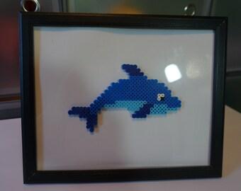 Perler Bead Pixel Art Dolphin in 8x10 Frame