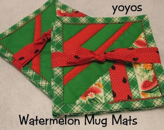 MUG MATS, WATERMELONS, Set of Four, Summer,  Country Decor, Home Décor,  Hostess Gift, Mothers Day,  Birthday,  Porch Decor,  Kitchen Decor