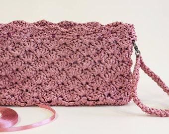 Spring sale Pink Bridal Clutch Pink Bridesmaid Purse Pink Bridesmaid Clutch Pink Evening Purse Crochet Wedding Clutch Gift Idea
