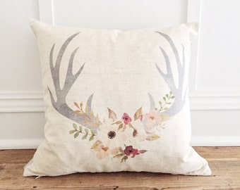Floral Antler Pillow Cover