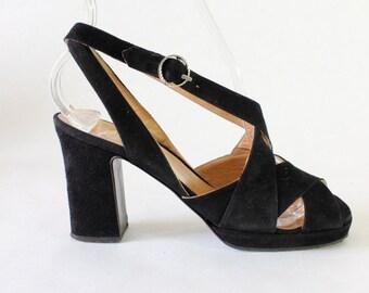 1940s Shoes / Vintage Black Suede Block Heel Sandals, size 5