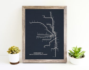 Chicago CTA Map , Chicago Wall Art, Chicago Map Art, CTA Art, Chicago Canvas Art, Chicago Print, Chicago Transit Map, CTA Chicago Artwork