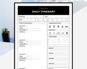 Travel Itinerary Printable | Daily Trip Itinerary | Daily Printable Travel Schedule | Vacation Day Planner | Travel Planning Printable