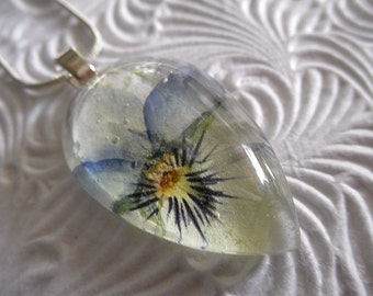 Pastel Ombre Coconut Swirl Purple, Lavender,  & Yellow Pansy Pressed Flower Glass Teardrop Pendant-Symbolizes Loyalty-Gifts Under 25