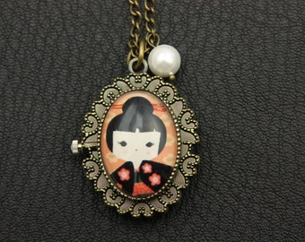 Japanese girl kokeshi Necklace Watch