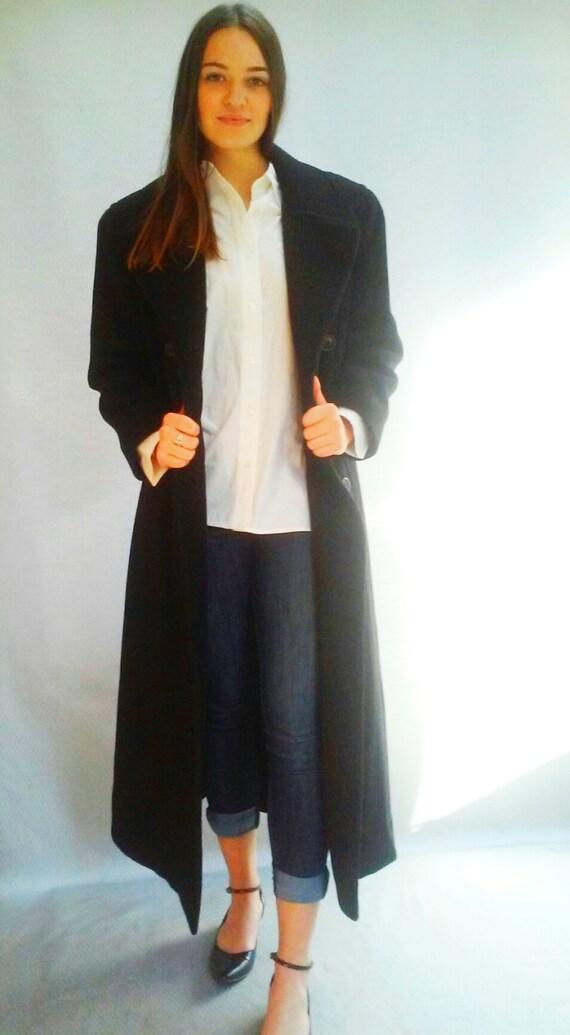 black double breasted overcoat / long midi black coat / classic simple coat / medium
