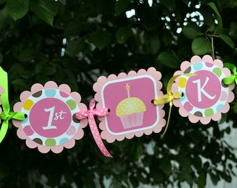 Happy 1st Birthday Banner Personalized - Cupcakes and Polkadots