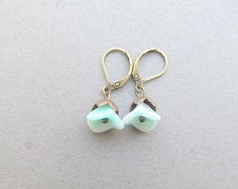 Cala Lilly Leaver Back Earrings, Aqua Seafoam, brass