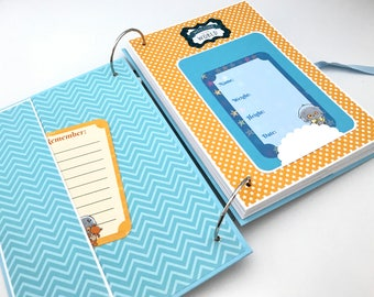 Baby Boy Scrapbook Album, Baby Memory Book, New Baby Journal Book, Photo Album, Baby Month Cards, Baby Keepsake Book, Personalized, Custom